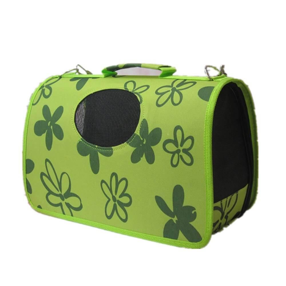 Sac vert pour chien avec fleurs